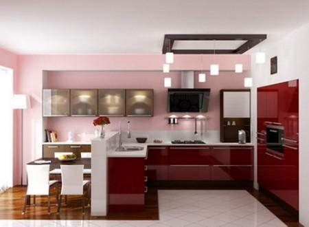 Совмещение кухни и столовой с зонами