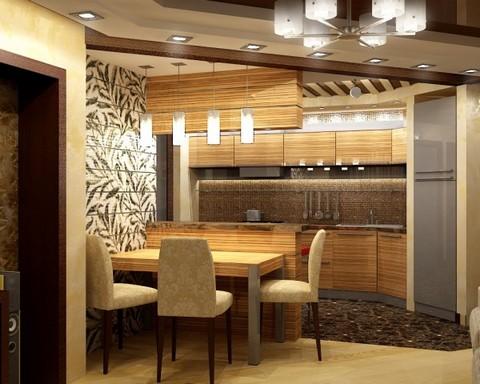 Выделение зон кухни и столовой различной отделкой пола и потолочными конструкциями.