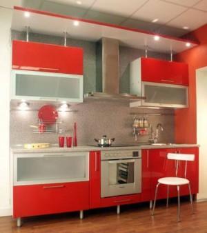 использование красного цвета в дизайне кухни