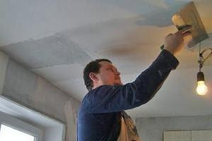 Полная шпаклевка потолка на кухне