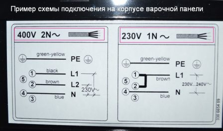 Схема подключения к электропитанию