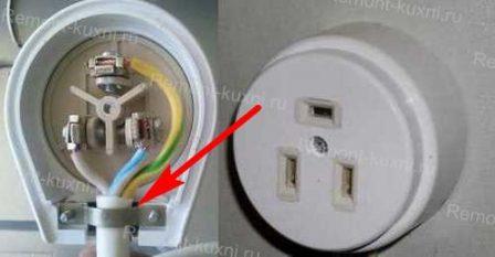 Закрепить кабель на корпусе вилки