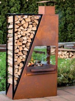 железный мангал с сушкой дров
