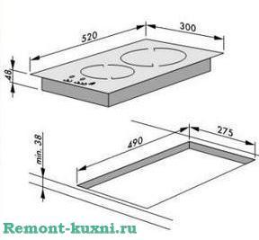 схема установки варочной панели на две конфорки