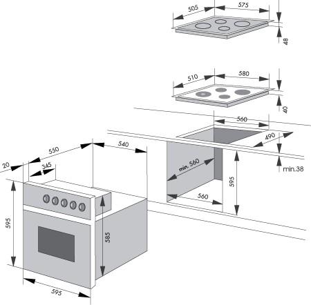 Размеры ниши встроенных духовых шкафов