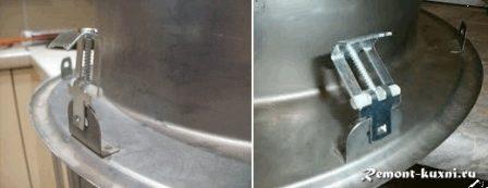 установка крепежа на врезную мойку
