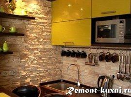 Декоративный камень на стену кухни: выбор, дизайн, укладка