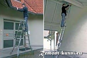 Раскладная алюминиевая лестница трансформер в домашнем хозяйстве